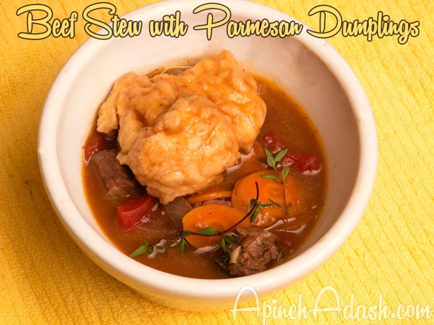 Beef Stew with Parmesan Dumplings- Apinchadash.com