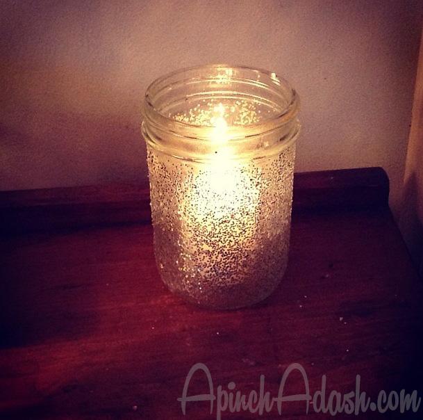 Glitter Candle Jars ApinchAdash.com