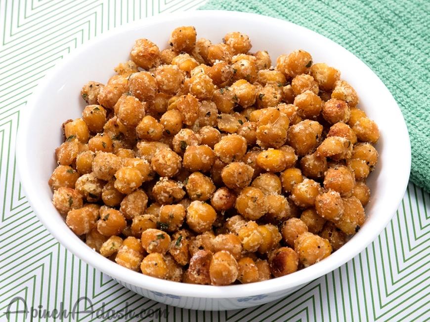 Garlic Parmesan Roasted Chickpeas apinchadash.com