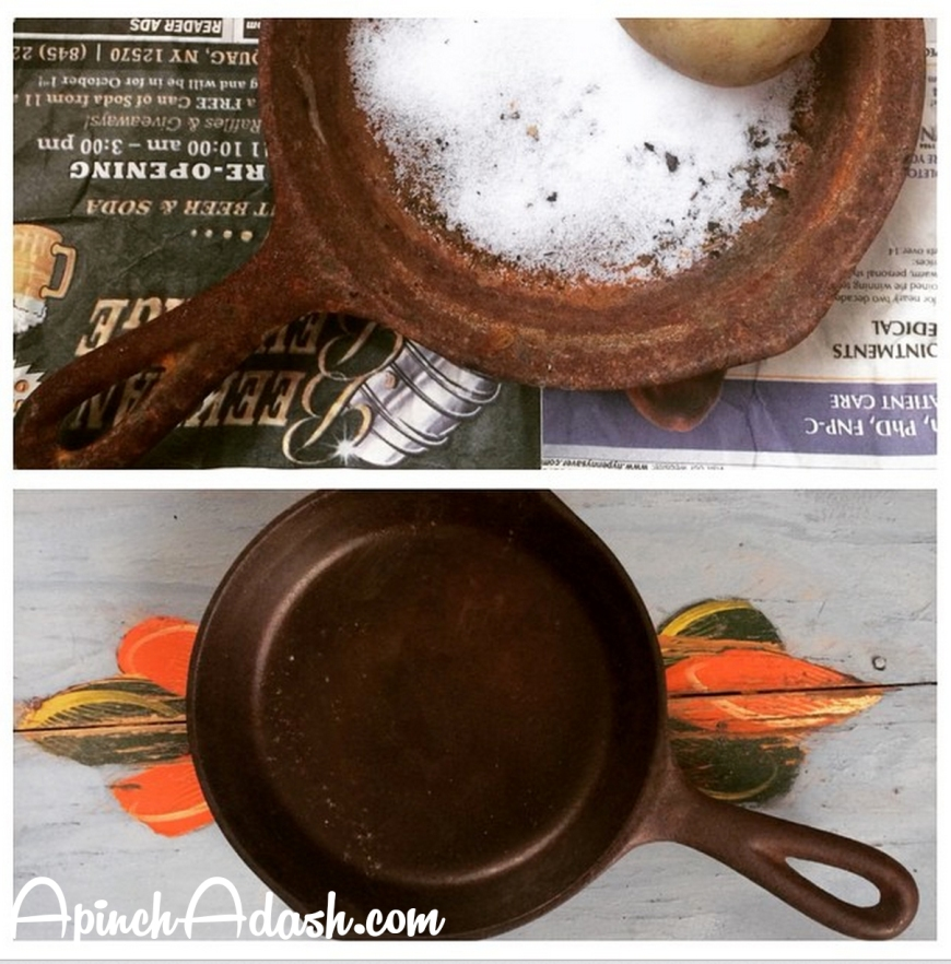 Re Seasoning a Rusty Cast Iron Pan apinchadash.com