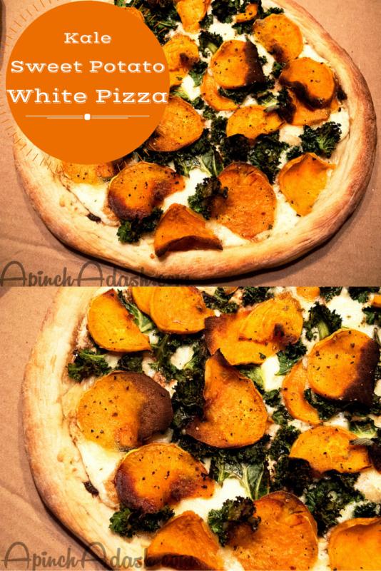 Kale Sweet Potato White Pizza apinchadash.com