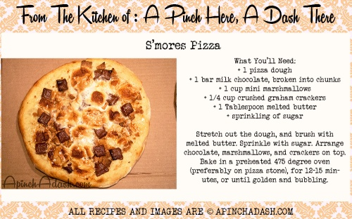 smores pizza recipe  card