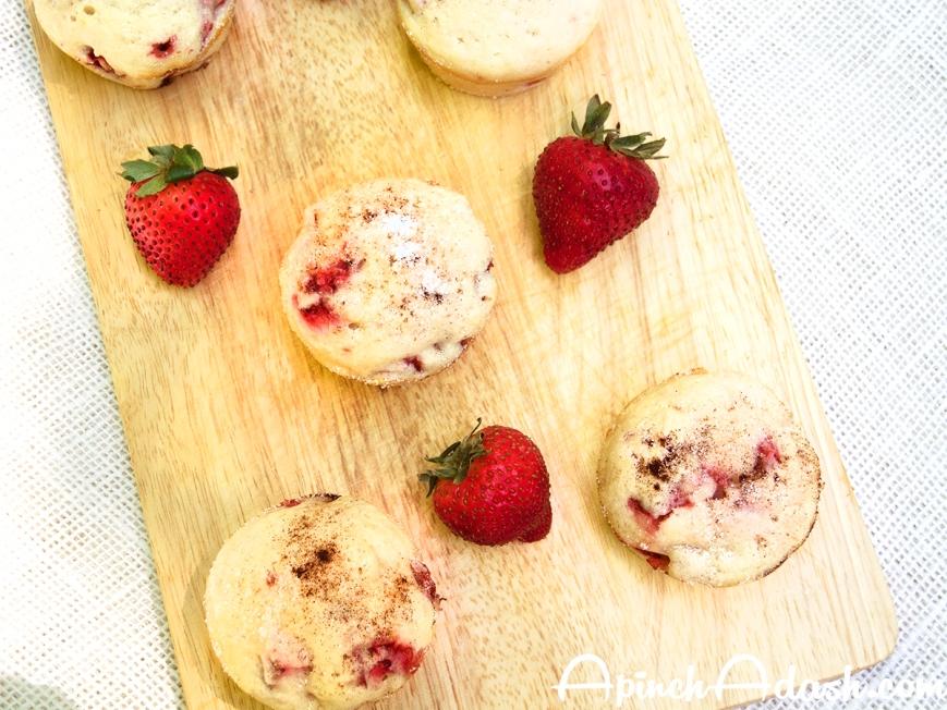 Strawberries & Cream Muffins apinchadash.com